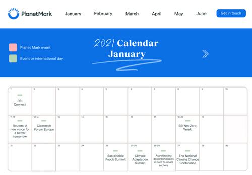 Planet Mark 2021 Digital Sustainability Calendar