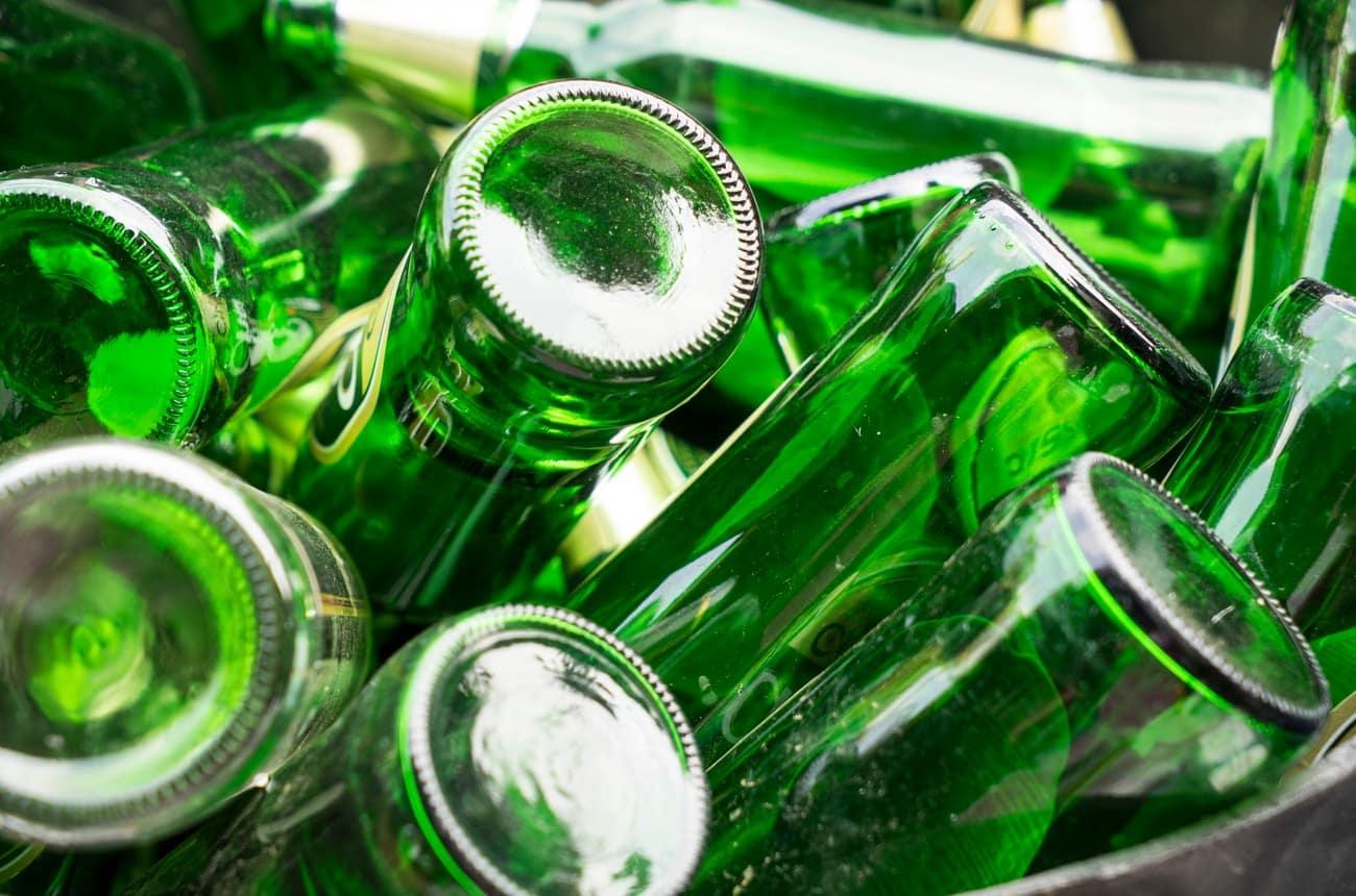recycling green glass bottles