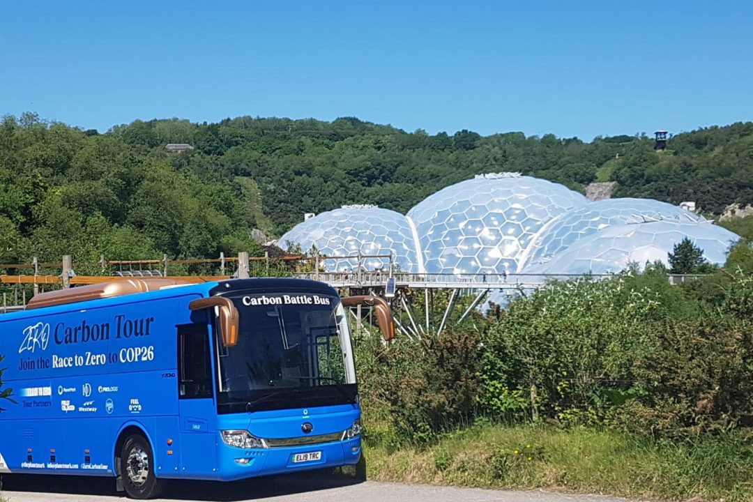Electric Coach Beached in Cornwall on Zero Carbon Tour
